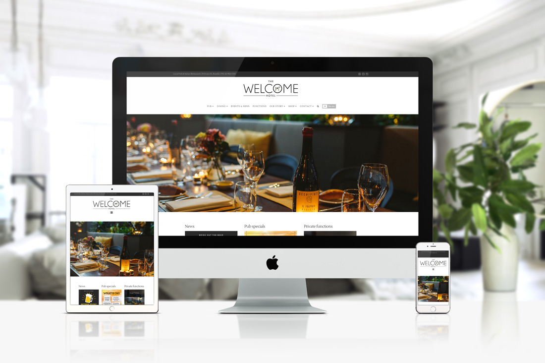 Welcome Hotel Rozelle web project by See Green Design